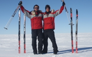 Finn McCann and Alex Smith on the summit of the Greenland icecap.