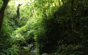 Finn McCann slacklining in Honduras.