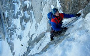 Finn McCann on the North face of the Droites.