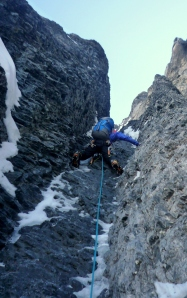Finn McCann on the North face of the Eiger.