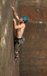 """Finn McCann climbing """"Jump"""" E5."""