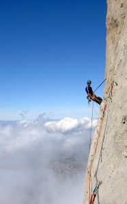 Finn McCann on the West face of Naranjo de Bulnes.