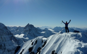 Finn McCann on the summit of the Eiger.