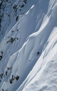 Finn McCann snowboarding Mammoth Head, British Columbia.