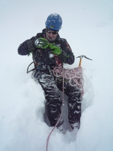 Niall on the Col du Midi in deep powder.