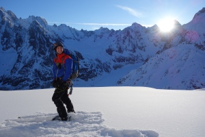 Finn McCann at the base of the Dent du Requin with the Aiguille Verte, Les Droites and Les Courtes behind me.