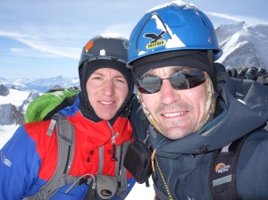 Niall and Finn McCann on the Cosmiques Arête.