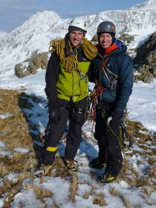 Happy chappies at the top of one of UK's best ice lines.