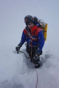 Finn McCann on the Col du Midi in deep powder and whiteout.