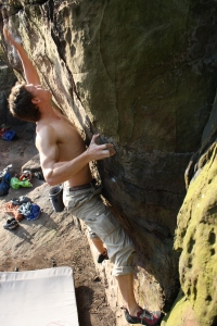 Finn McCann bouldering The One Pinch Punch at Nesscliffe.