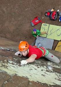 Finn McCann climbing Berlin Wall F8a.