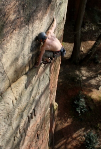 Finn McCann climbing Marlene Direct E7 6c, at Nesscliffe.