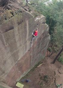 Finn McCann climbing Notional Trust E5 6a.