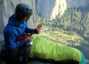Finn McCann playing the ukulele on The Nose of El Capitan