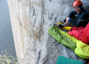 Seamus McCann at bivi three onThe Nose of El Capitan