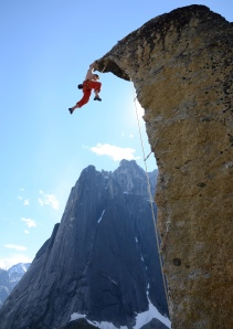 Finn McCann climbing in the Cirque of the Unclimbables
