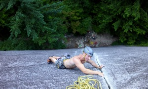 Finn McCann climbing 'The Exasperator' in Squamish