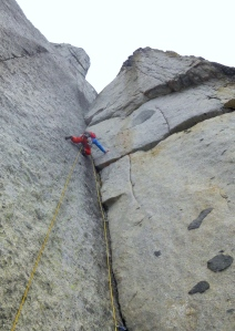Finn McCann leading pitch 11 of The Lotus Flower Tower