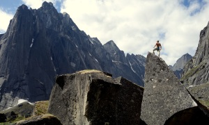 Sam Hamer bouldering in the Fairy Meadows