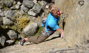 Sam Hamer climbing near our base camp in the Fairy Meadows