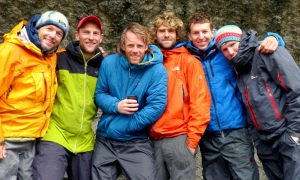 The team along with the Norwegians in our kitchen at base camp