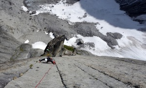 Wilki climbing on the headwall