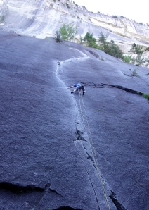 Wilki climbing 'The Exasperator' in Squamish