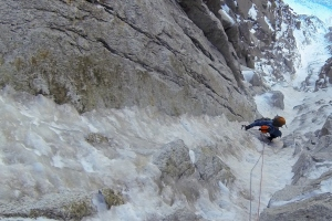 Wilki climbing the Eugster Direct