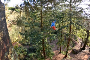 Finn McCann highline slacklining at Nesscliffe