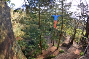 Finn McCann on the Nesscliffe highline slackline