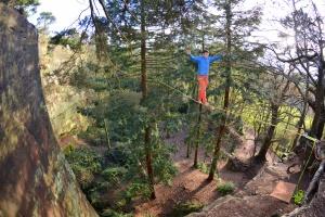 Finn McCann on the Nesscliffe highline slackline