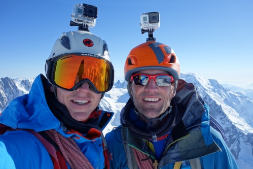 Finn and Wilki on the summit of the Aiguille Verte