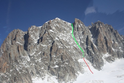Photo of the Whymper Couloir with Niall's fall shown in red