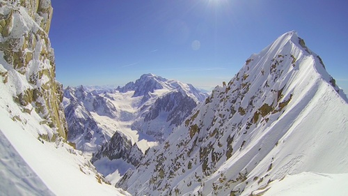 The Grand Rocheuse on the left and the Aiguille Verte on the right with Mont Blanc in the distance