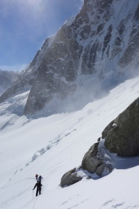 The team on a recce of the Aiguille Verte approach