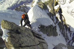 Wilki at the beginning of the awkward ridge leading up to the Grand Rocheuse