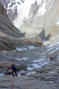 Abseiling above the Cerro Torre valley