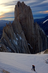 At the base of the headwall at sunrise. The Aguja Poincenot in the background