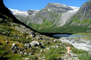 Finn at the top of a beautiful valley in the Jostedalsbreen