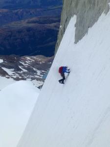 Finn down climbing back to the glacier
