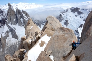 The summit ridge with Cerro Torre in the background