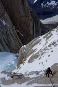 Wilki abseiling back down the mixed terrain