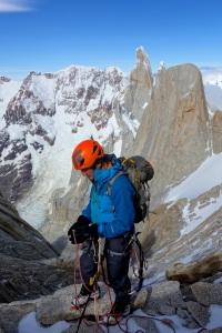 Wilki preparing to abseil down the ridge